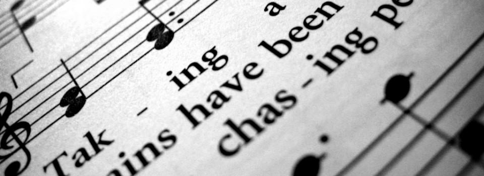 Closeup of hymn book.
